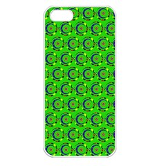 Green Abstract Art Circles Swirls Stars Apple iPhone 5 Seamless Case (White)