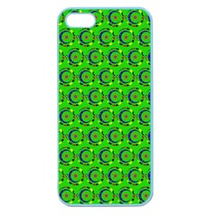Green Abstract Art Circles Swirls Stars Apple Seamless Iphone 5 Case (color)
