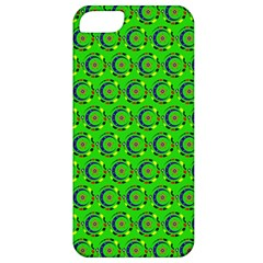 Green Abstract Art Circles Swirls Stars Apple Iphone 5 Classic Hardshell Case