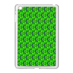 Green Abstract Art Circles Swirls Stars Apple iPad Mini Case (White)