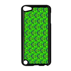 Green Abstract Art Circles Swirls Stars Apple iPod Touch 5 Case (Black)