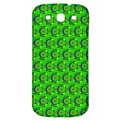 Green Abstract Art Circles Swirls Stars Samsung Galaxy S3 S III Classic Hardshell Back Case