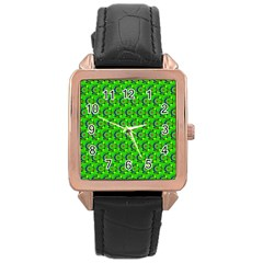 Green Abstract Art Circles Swirls Stars Rose Gold Leather Watch