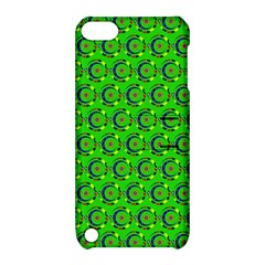 Green Abstract Art Circles Swirls Stars Apple iPod Touch 5 Hardshell Case with Stand