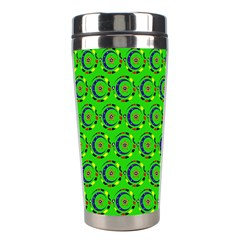 Green Abstract Art Circles Swirls Stars Stainless Steel Travel Tumblers