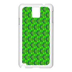 Green Abstract Art Circles Swirls Stars Samsung Galaxy Note 3 N9005 Case (White)