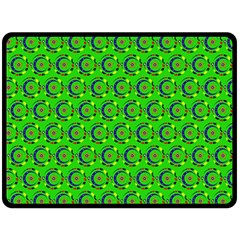 Green Abstract Art Circles Swirls Stars Double Sided Fleece Blanket (Large)