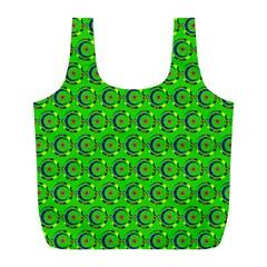 Green Abstract Art Circles Swirls Stars Full Print Recycle Bags (L)