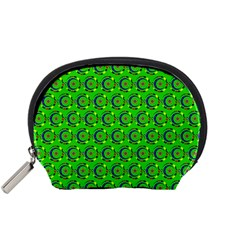 Green Abstract Art Circles Swirls Stars Accessory Pouches (Small)