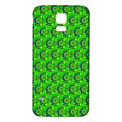 Green Abstract Art Circles Swirls Stars Samsung Galaxy S5 Back Case (white)