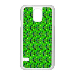Green Abstract Art Circles Swirls Stars Samsung Galaxy S5 Case (White)