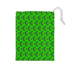 Green Abstract Art Circles Swirls Stars Drawstring Pouches (large)