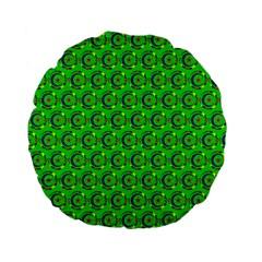 Green Abstract Art Circles Swirls Stars Standard 15  Premium Flano Round Cushions