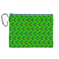 Green Abstract Art Circles Swirls Stars Canvas Cosmetic Bag (XL)