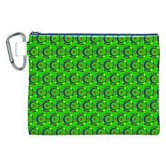 Green Abstract Art Circles Swirls Stars Canvas Cosmetic Bag (XXL)
