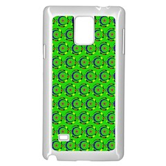 Green Abstract Art Circles Swirls Stars Samsung Galaxy Note 4 Case (white)