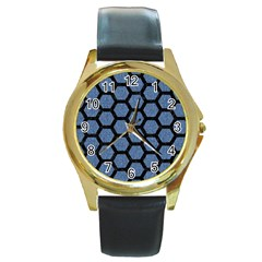 HXG2 BK-MRBL BL-DENM (R) Round Gold Metal Watch