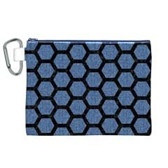 HXG2 BK-MRBL BL-DENM (R) Canvas Cosmetic Bag (XL)