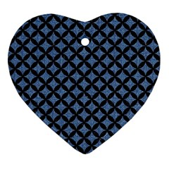 Circles3 Black Marble & Blue Denim (r) Ornament (heart)
