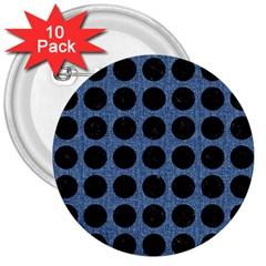 CIR1 BK-MRBL BL-DENM (R) 3  Buttons (10 pack)