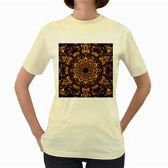3d Fractal Art Women s Yellow T Shirt