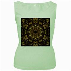3d Fractal Art Women s Green Tank Top