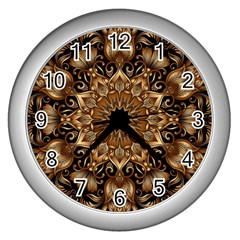 3d Fractal Art Wall Clocks (Silver)