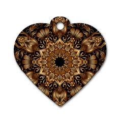 3d Fractal Art Dog Tag Heart (Two Sides)