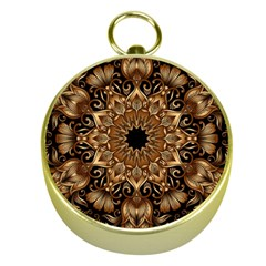 3d Fractal Art Gold Compasses