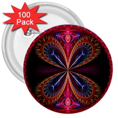 3d Abstract Ring 3  Buttons (100 pack)