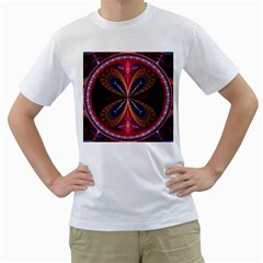 3d Abstract Ring Men s T-Shirt (White) (Two Sided)
