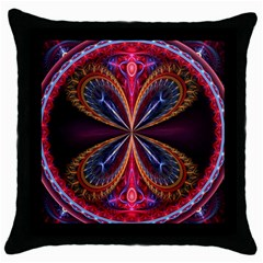3d Abstract Ring Throw Pillow Case (black)