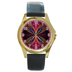 3d Abstract Ring Round Gold Metal Watch