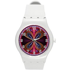 3d Abstract Ring Round Plastic Sport Watch (m)
