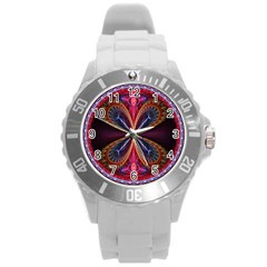 3d Abstract Ring Round Plastic Sport Watch (L)