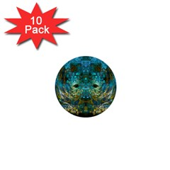 Blue Gold Modern Abstract Geometric 1  Mini Buttons (10 pack)