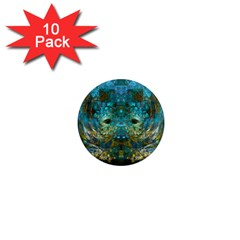 Blue Gold Modern Abstract Geometric 1  Mini Magnet (10 pack)