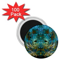Blue Gold Modern Abstract Geometric 1.75  Magnets (100 pack)