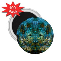 Blue Gold Modern Abstract Geometric 2.25  Magnets (100 pack)