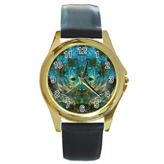 Blue Gold Modern Abstract Geometric Round Gold Metal Watch