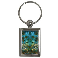 Blue Gold Modern Abstract Geometric Key Chains (Rectangle)