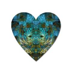 Blue Gold Modern Abstract Geometric Heart Magnet