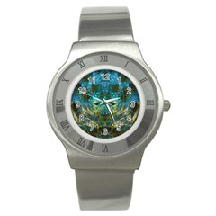 Blue Gold Modern Abstract Geometric Stainless Steel Watch