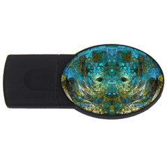 Blue Gold Modern Abstract Geometric USB Flash Drive Oval (4 GB)