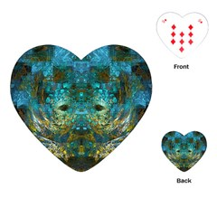 Blue Gold Modern Abstract Geometric Playing Cards (Heart)