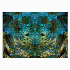 Blue Gold Modern Abstract Geometric Large Glasses Cloth (2-Side)