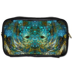 Blue Gold Modern Abstract Geometric Toiletries Bags