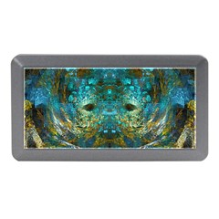 Blue Gold Modern Abstract Geometric Memory Card Reader (Mini)