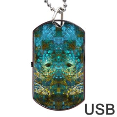 Blue Gold Modern Abstract Geometric Dog Tag USB Flash (Two Sides)