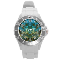 Blue Gold Modern Abstract Geometric Round Plastic Sport Watch (L)
